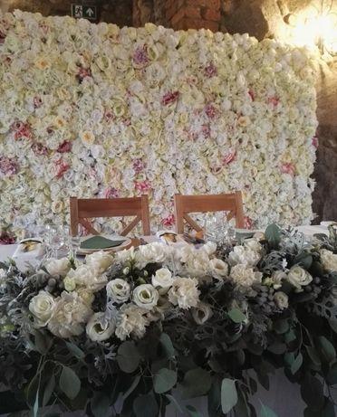 Ścianka kwiatowa, ślub
