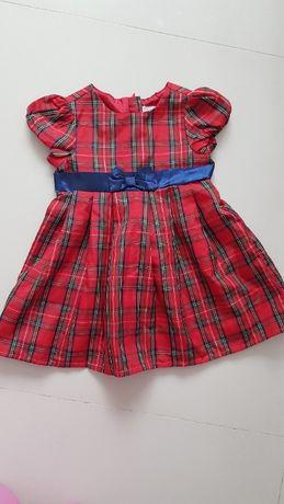 Elegancka sukienka krata Smyk r. 74 jak nowa!