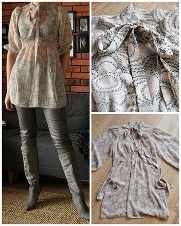Bluzka tunika elegancka wiązanie blady róż