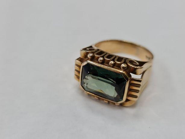 Wiekowy złoty pierścionek damski/ 585/ 10.29 gram/ R18/ Zielone