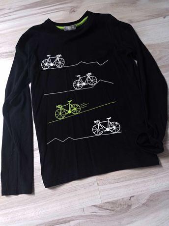 152 czarna bluzka z długim rękawem nadrukiem rowery
