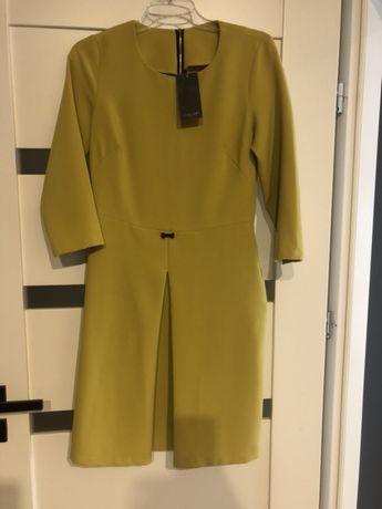 Elegancka sukienka wizytowa 36/S , do pracy, kolor zielony/oliwkowy