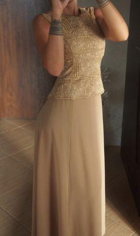 Sukienka długa maxi beżowa 36