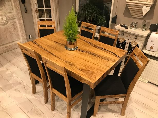 Stół dębowy z żywicą+krzesła/stół Loft/stół industrialny