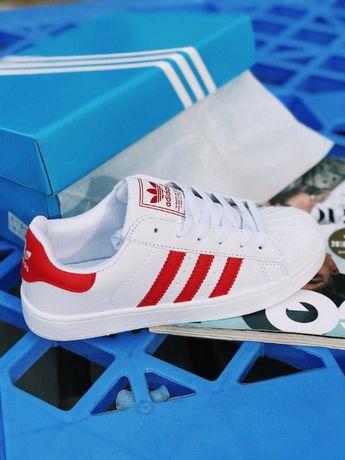 Кроссовки белые Adidas Superstar White and Red Адідас Суперстар