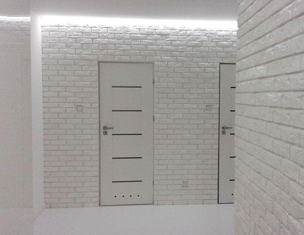 Płytka z fugą cegła biała gipsowa kamień 3d panel
