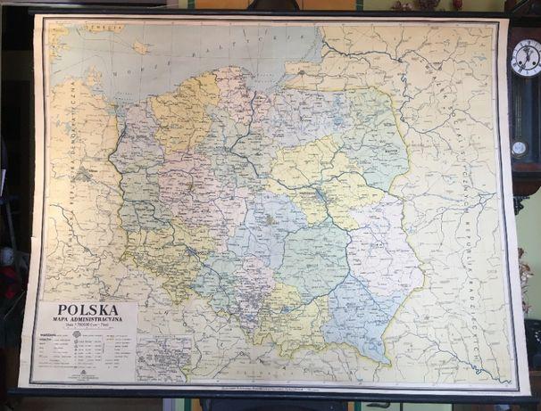 Polska - stara mapa ścienna szkolna wisząca