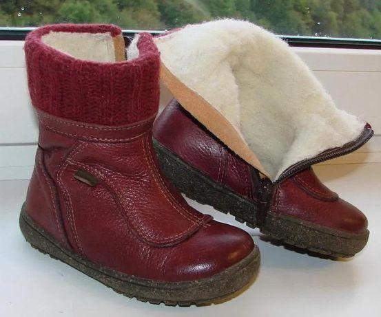 Кожаные зимние сапожки , ботинки, ботиночки на девочку. Размер - 24.