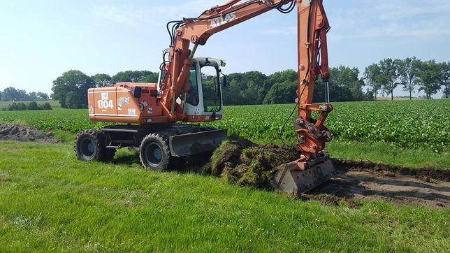 Roboty ziemne, wyburzenia-usługi koparką kołową 15t