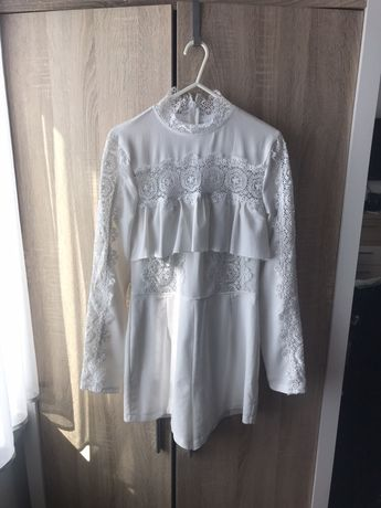 Biały kombinezon z koronka M chrzciny wesele urodziny