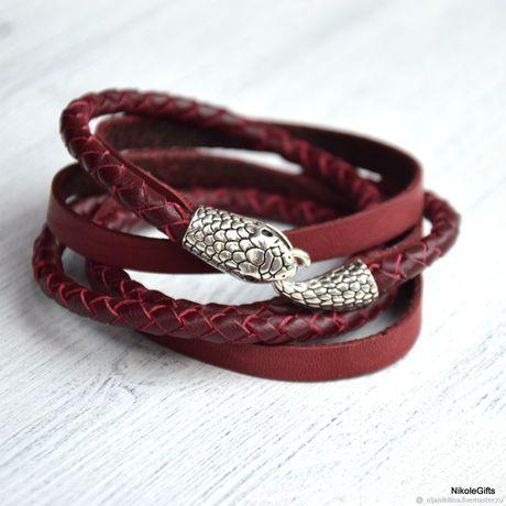 Кожаный плетеный браслет Змея