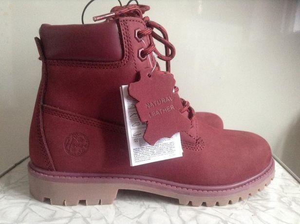 Кожаные зимние ботинки цвета марсала 36 zara house девочке