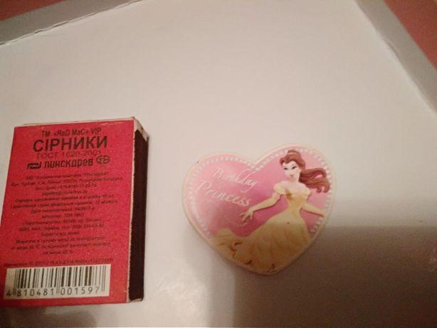 детский значок принцесса сердечко брошка для девочки день рождения