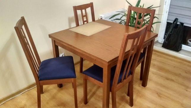 bardzo ładny rozkładany solidny stół + 4 krzesła