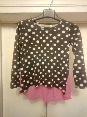 Кофточка в горошек с розовой отделкой для девочки 7-8 лет.