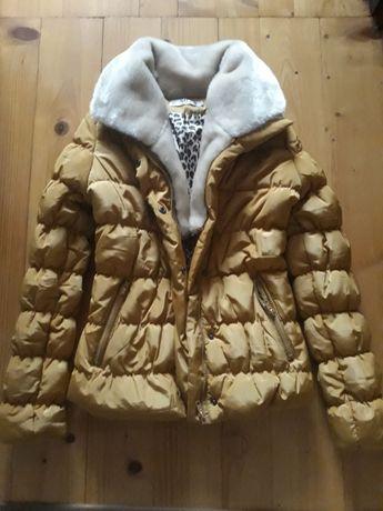 Nowa musztarda kurtka jesienno zimowa z futrem pod szyja roz xs/s