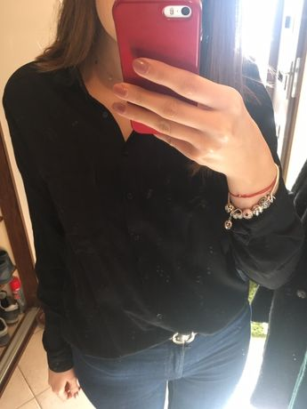 Czarna gładka koszula rozmiar L