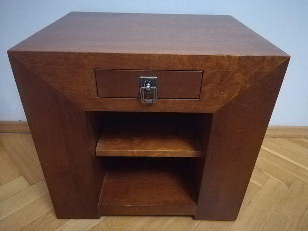 Stolik nocny szafka nocna w stylu kolonialnym lite drewno złoty koniak