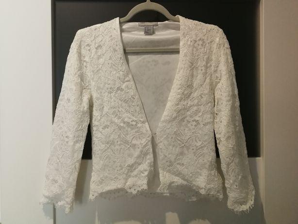 Żakiet wdzianko narzutka H&M białe biały koronka wesele ślub impreza