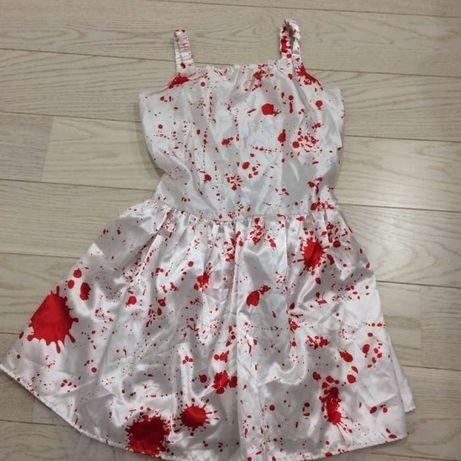 Sukienka, strój przebranie karnawałowe krwawej pięlegniarki.