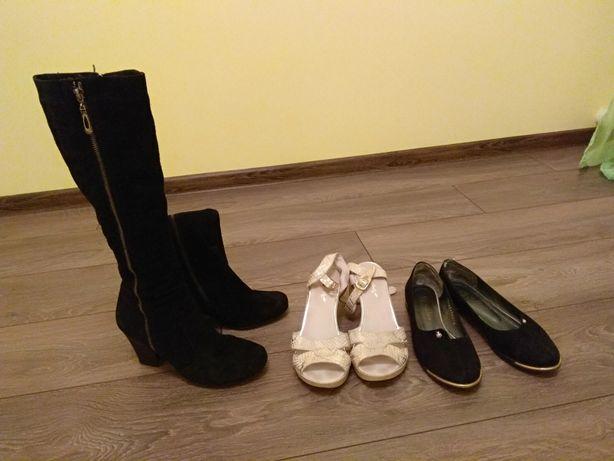 Сапоги босоножки туфлі кожа деми замшевые женские. Пакет обувы