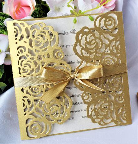 Zaproszenie Koronka Róże Wesele Ślubne Złote