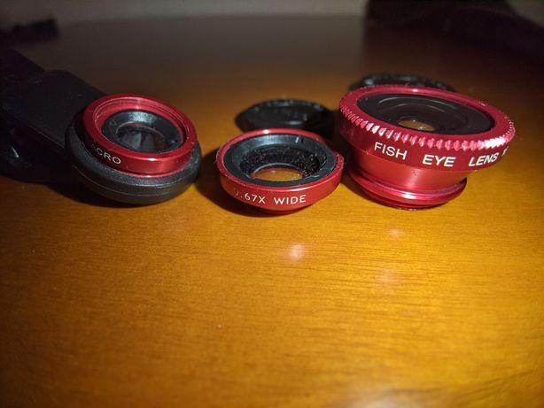 Kit lentes smartphone: macro, wide e fish eye