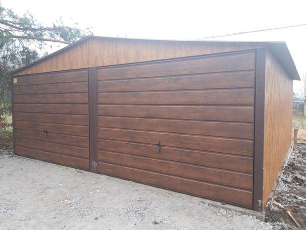 garaz blaszany blaszak 6x5 Dwuspad Orzech Garaze Blaszane