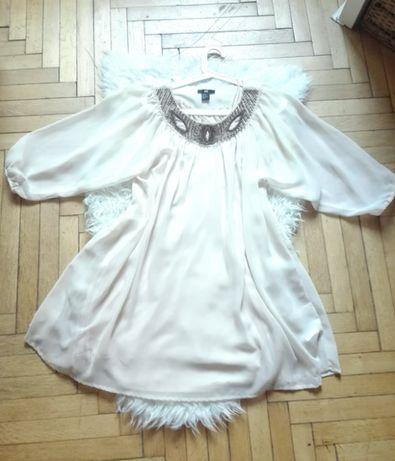 Sukienka H&M kremowa boho oversize tunika złote koraliki modna XL XXL