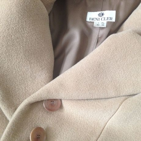 DENI CLER karmelowy płaszcz z dużym kołnierzem r. 36 MAXMARA ,MARELLA