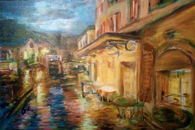 Obraz ręcznie malowany KAWIARENKI G. Lazarek 60 x 40