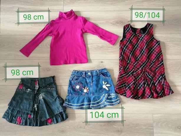 Ciuszki rozm. 98-104:spódniczki, sukienka, bluzka 4 szt.
