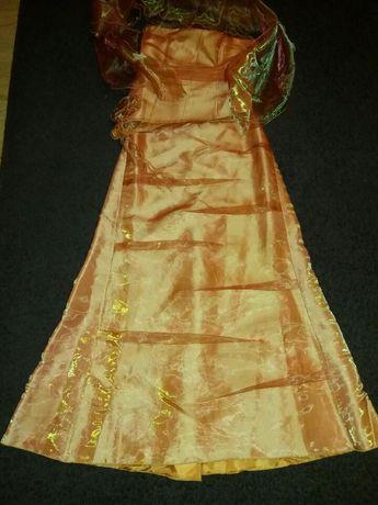Sukienka pomarańczowa + szal GRATIS studniówka wesele sylwester