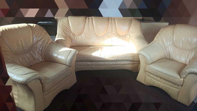 Skórzany zestaw wypoczynkowy: sofa z funkcją spania + dwa fotele