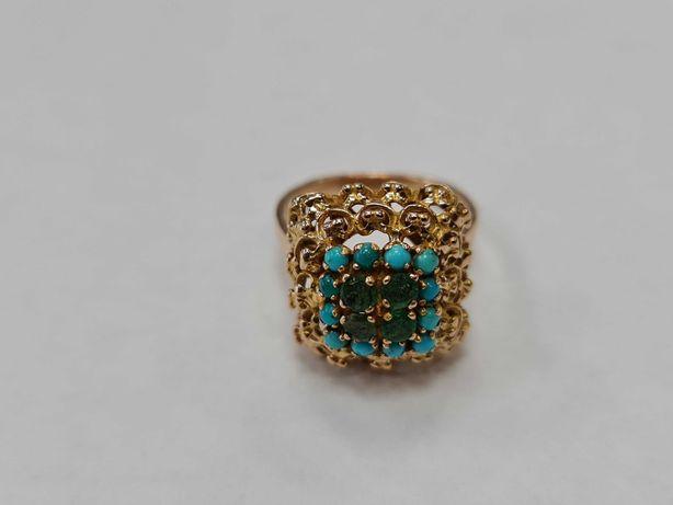 Wyjątkowy złoty pierścionek damski/ 750/ 6.51 gram/ Turkusy/ R14