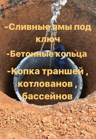 Сливная яма под ключ, бетонные кольца. Земляные работы