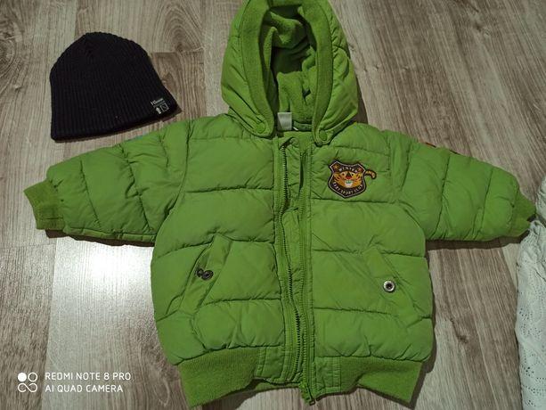 Kurtka zimowa h&m plus czapka i rękawiczki