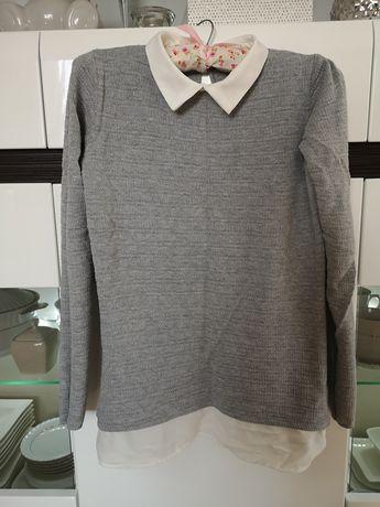 Nowy szary sweterek z białym kołnierzykiem House