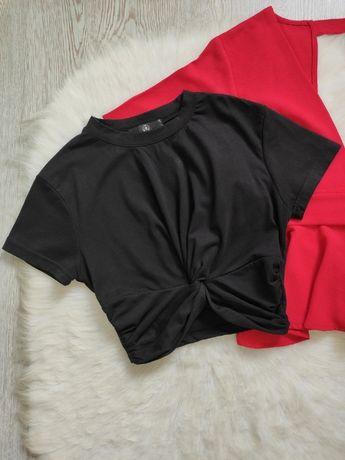 Черный кроп топ короткая футболка с узлом спереди завязка