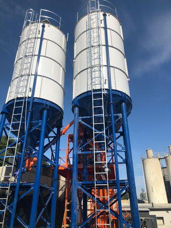 BETONIARNIA węzeł betoniarski 60m3/h 3x zbiorniki kruszywo 4x15m3