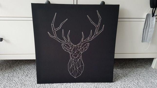 Obraz, srebrny jeleń, 56x56 cm