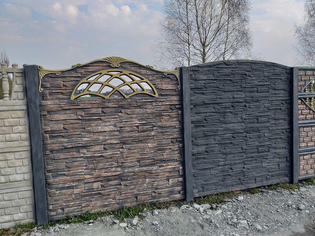 OGRODZENIA BETONOWE przęsło systemowe 2m wzór piaskowiec dom i ogród