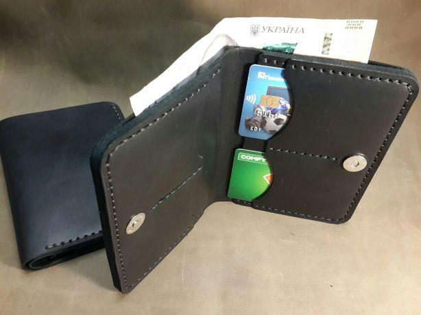 Кожаный кошелек, портмоне с отделами под автодокументы.