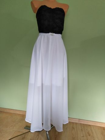 Sukienka długa czarna biała wesele impreza