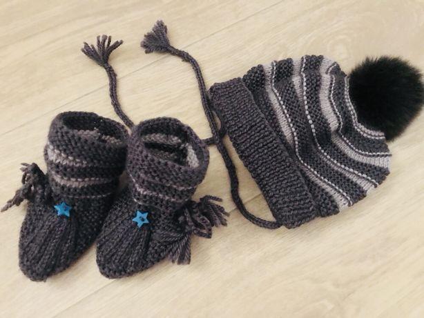 Зимняя шапка и пинетки