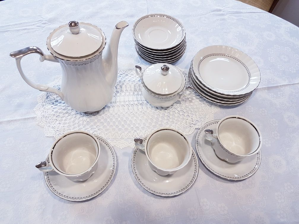 Chodzież komplet serwis dzbanek komplet porcelana zestaw biały srebro