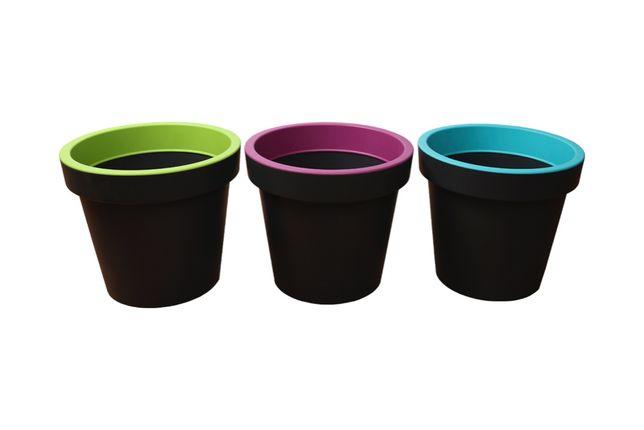 Donica okrągła L zestaw 3 kolory plastikowa doniczka szara WYSYŁKA!