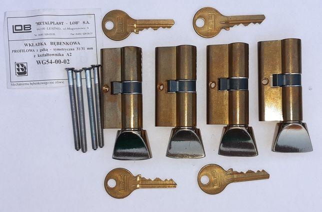Nowy komplet 4 wkładek do zamków. Rozmiar 31/31. System 1 klucza.
