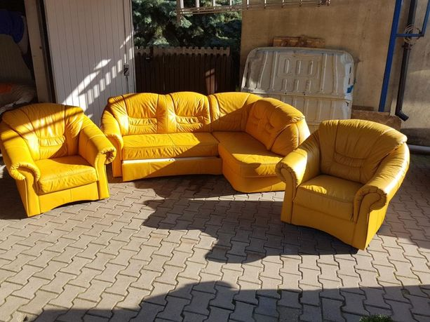 Narożnik skórzany kanapa rogówka sofa skóra funkcja spania jak nowy