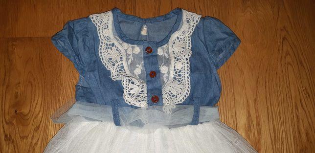 Сарафан нарядный, летнее платье джинс с фатиновой юбкой, 2-2,5 года